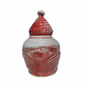 """Vtg. Abstract Stoneware Canister Urn 11"""""""